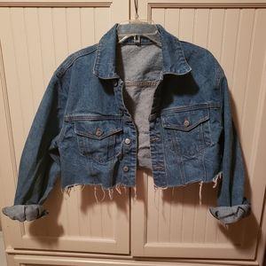 Denim blue crop jacket with fringe